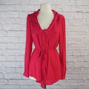 Odille Hot Pink Button Down Blouse Top 6
